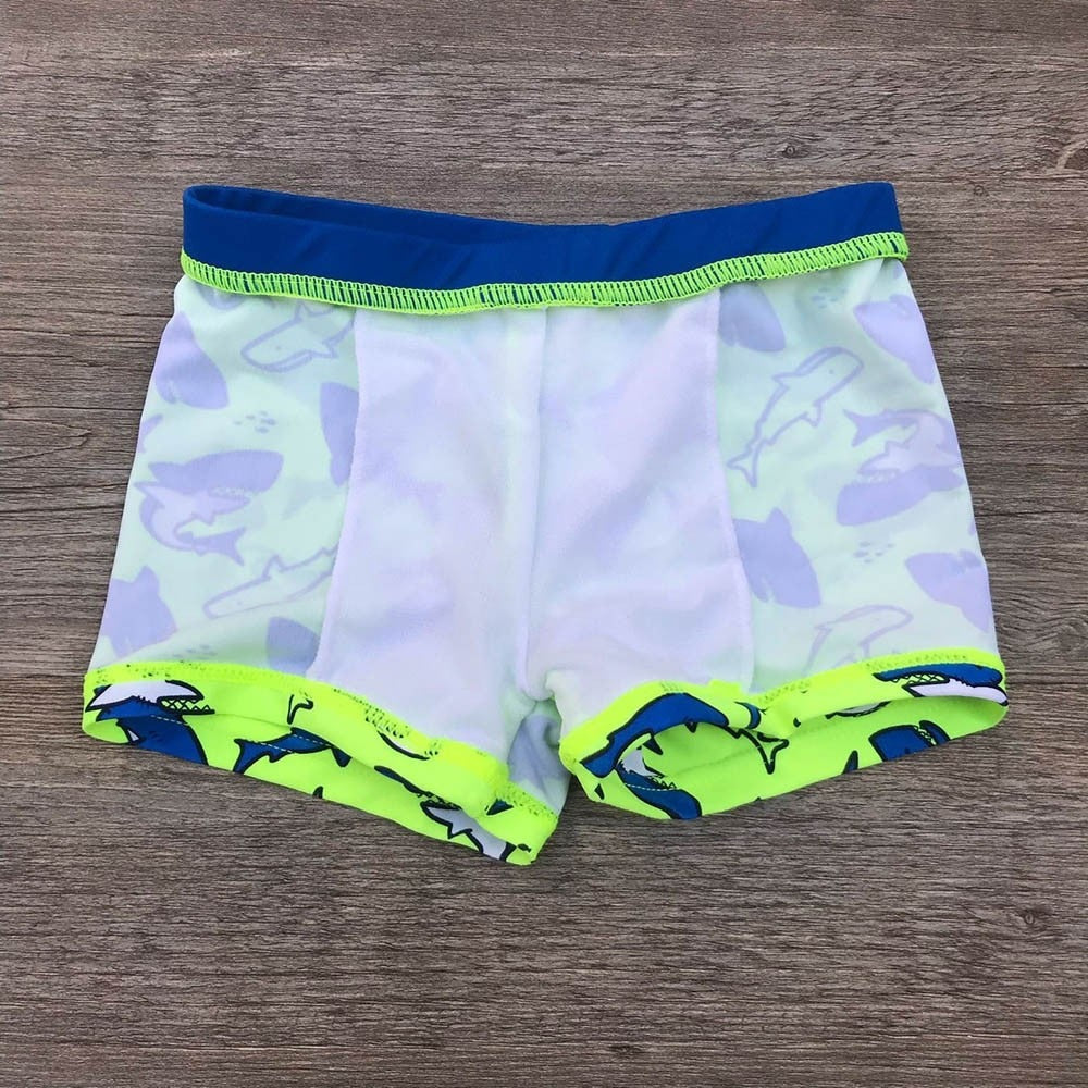 Neon Shark Swimming Trunks