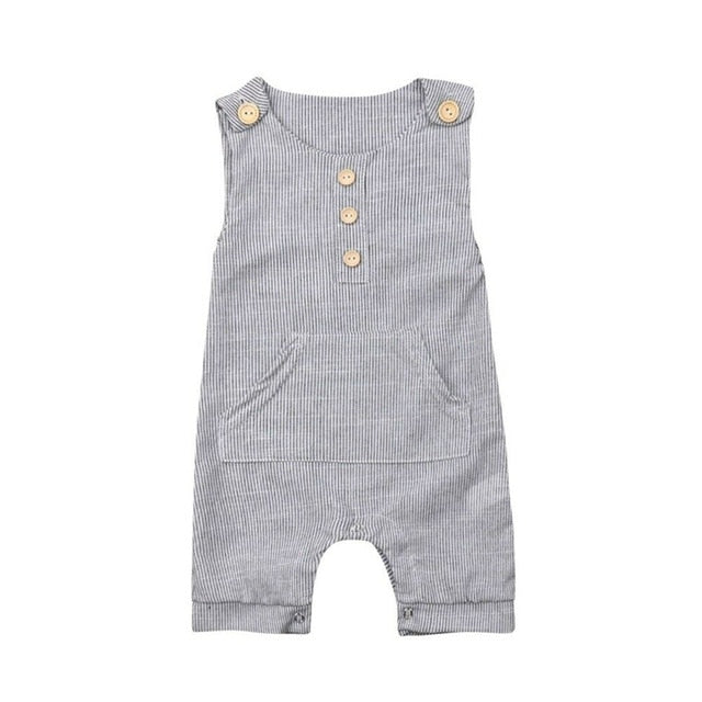 Country Side Button Striped Pocket Romper - Rompers - baby-petite