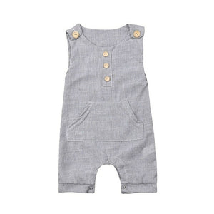 Country Side Button Striped Pocket Romper