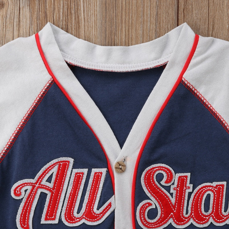 All Star Baseball Button T-Shirt - Tops - baby-petite