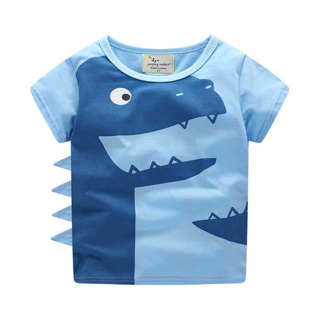 Smiling Blue Dinosaur Cotton T-Shirt - Tops - baby-petite