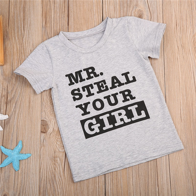 Mr Steal Your Girl Statement Cotton T-Shirt - Tops - baby-petite