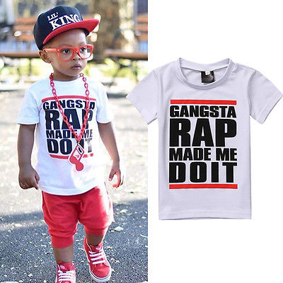 Gangsta Rap Made Me Do It Statement Print T-Shirt - Tops - baby-petite