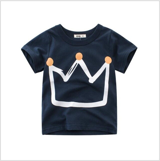 Little King Crown Casual Cotton T-Shirt - Tops - baby-petite