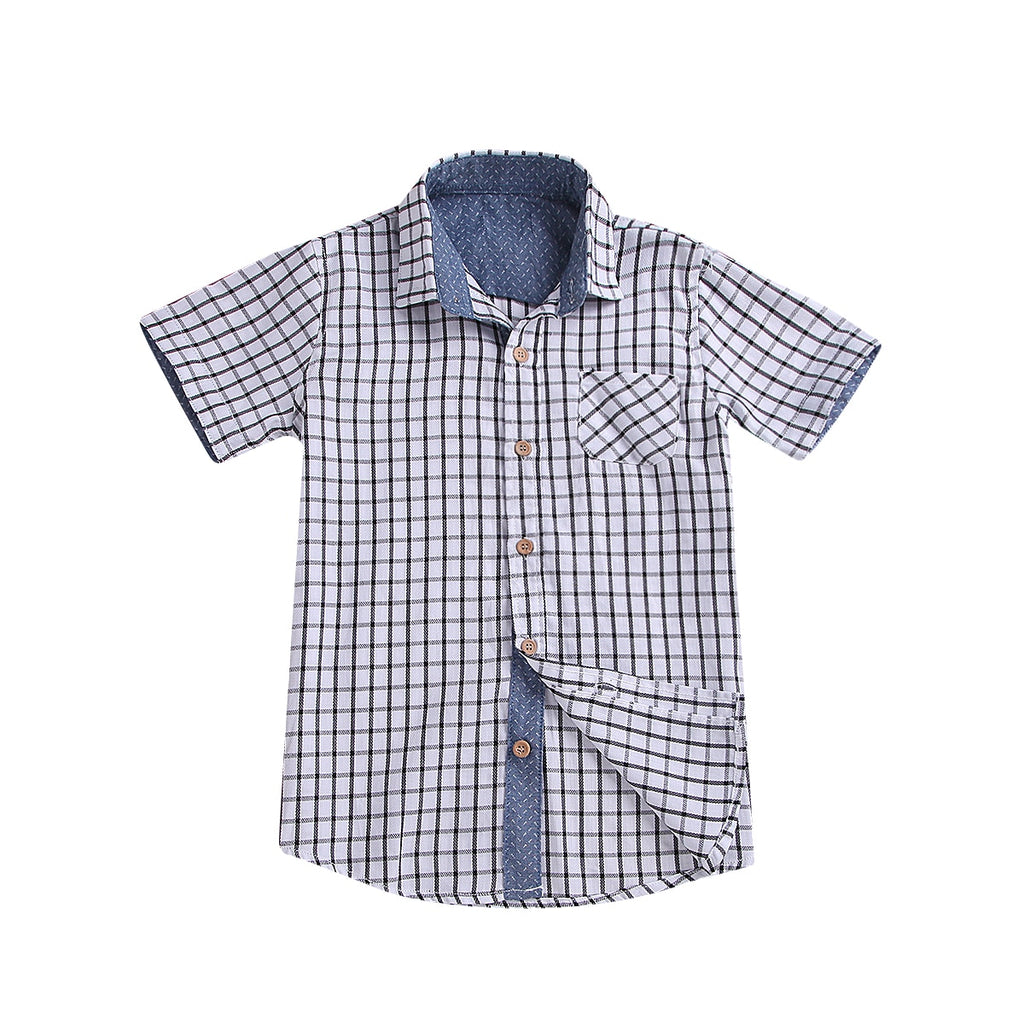 Gingham Plaid Collar Button Up Formal Shirt - Tops - baby-petite