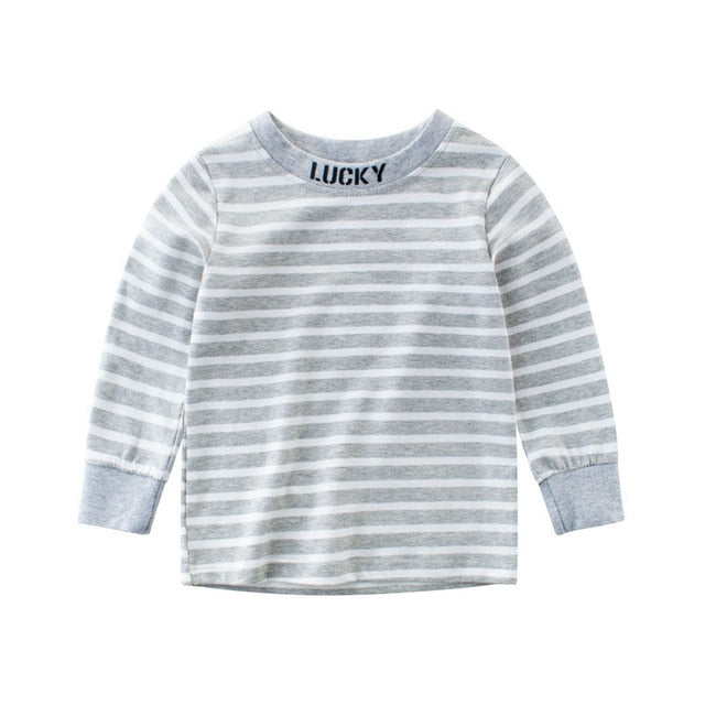Lucky Striped Long Sleeve T-Shirt - Tops - baby-petite