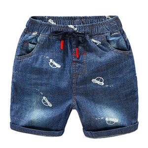 Litte Car Printed Draw String Denim Shorts - Shorts - baby-petite
