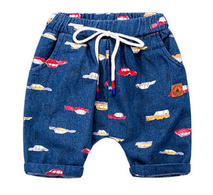 Car Print Denim Cotton Summer Shorts - Shorts - baby-petite