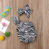 Zia Zebra Toga Romper With Matching Headband - Rompers - baby-petite