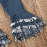 Fashionable Ripped Tassel Bell Bottom Denim Pants
