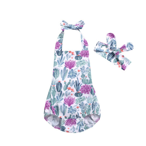 Lavender Cactus Garden Halter Neck Romper With Matching Headband - Rompers - baby-petite