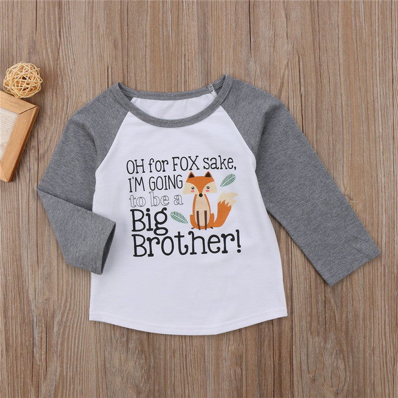 Oh For Fox Sake I'm Going To Be A Big Brother Long Sleeve T-Shirt - Tops - baby-petite
