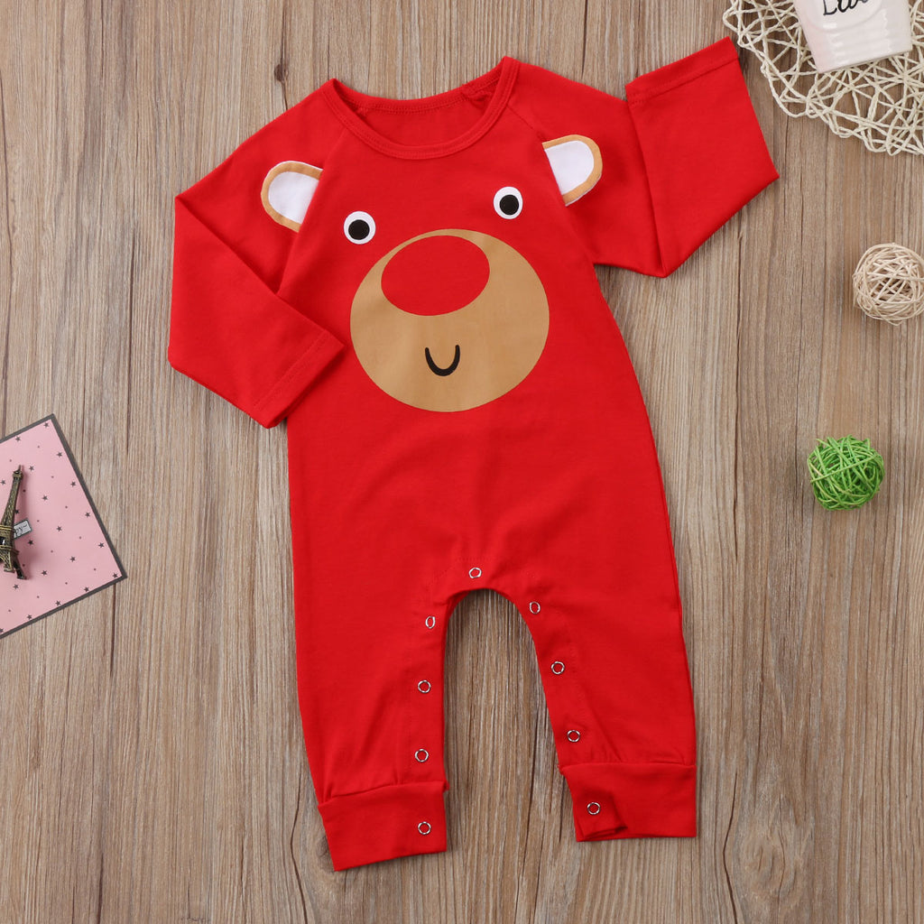Red Oh Deer Christmas Romper - Tops - baby-petite