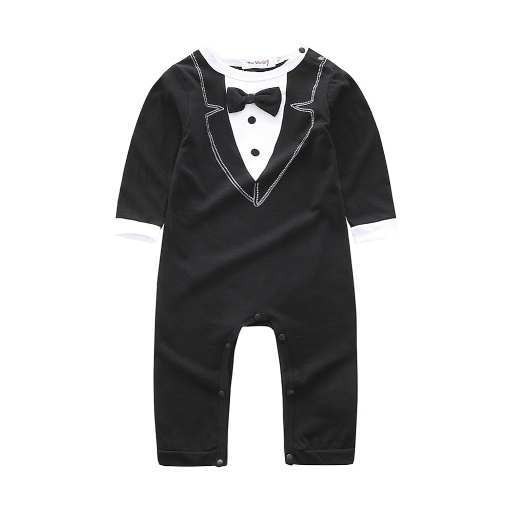 Take Me Out For Dinner Gentlemen Romper - Tops - baby-petite
