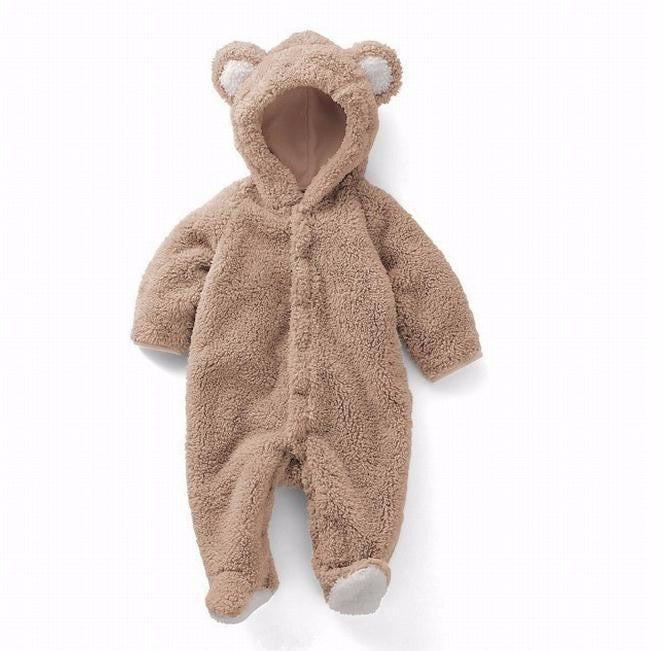 Fuzzy Wuzzy Bear Hooded Romper Costume - Tops - baby-petite