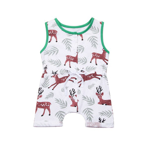 Magical Reindeer In The Forest Sleeveless Romper
