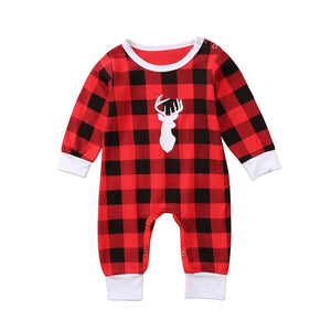 The Christmas Plaid Moose Romper