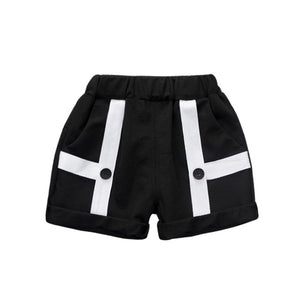 Black & White Geometric Button Shorts