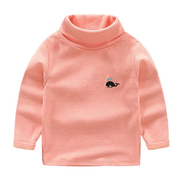 Casual Splashy Whale Turtleneck Sweater