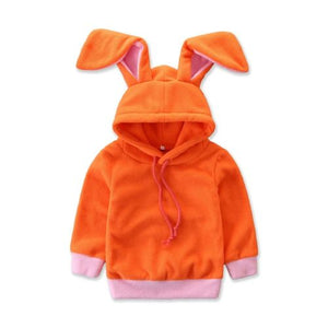 The Orange Hooded Bunny Fluffy Sweater