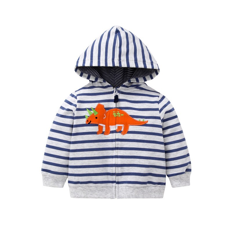 Orange Dino Striped Hooded Sweater