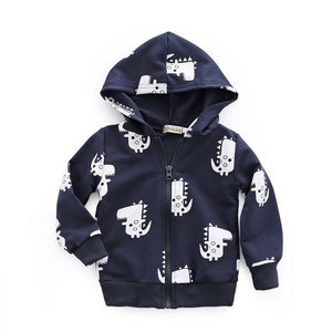 Funky Cartoon Dinosaur Hooded Jacket