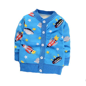 Let's Fly Away Rocket Ship Cardigan