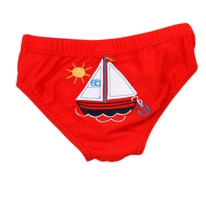 Red Sail Away Boat Swimming Trunk