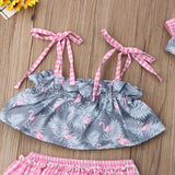 Tropical Dusty Flamingo Swimsuit With Matching Headband - Swimsuits - baby-petite