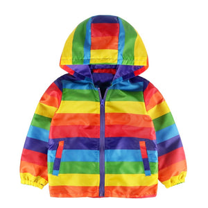 Rainy Rainbow Waterproof Striped Hoodie Jackets