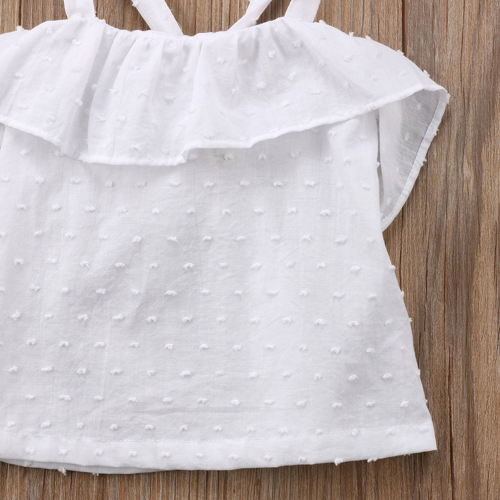 Little White Dotted Cotton Sleeveless Tank Top