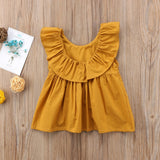 Mustard Ruffle Collar Summer Breezy Blouse Top