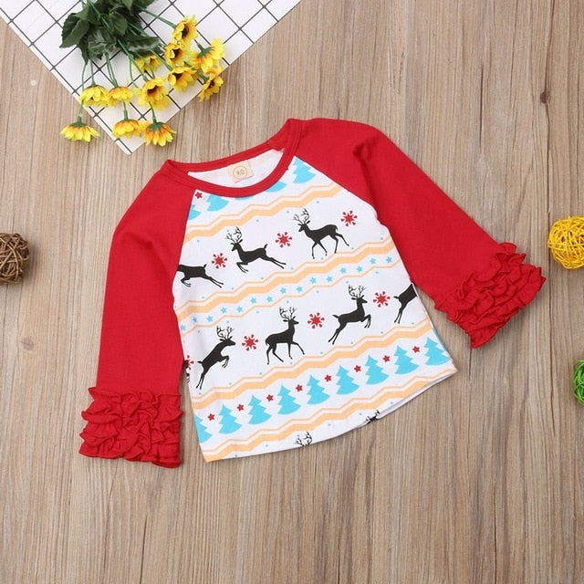 It's Christmas Deer Ruffle Sleeve Long Sleeve T-Shirt