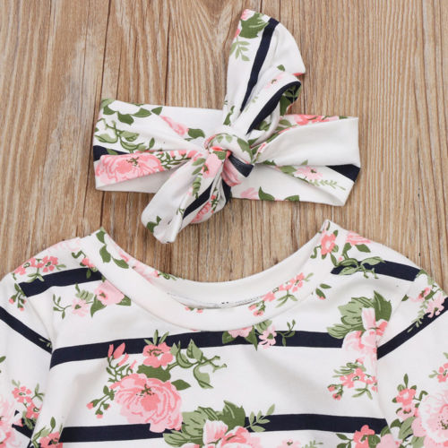 Vintage Striped Floral Dress Pajamas With Matching Headband