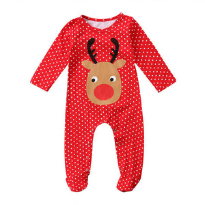 Red Polka Rudolph Christmas Pajamas