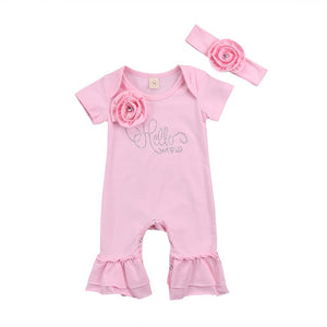 Pink Rose Bell Bottom Pajamas With Matching Headband