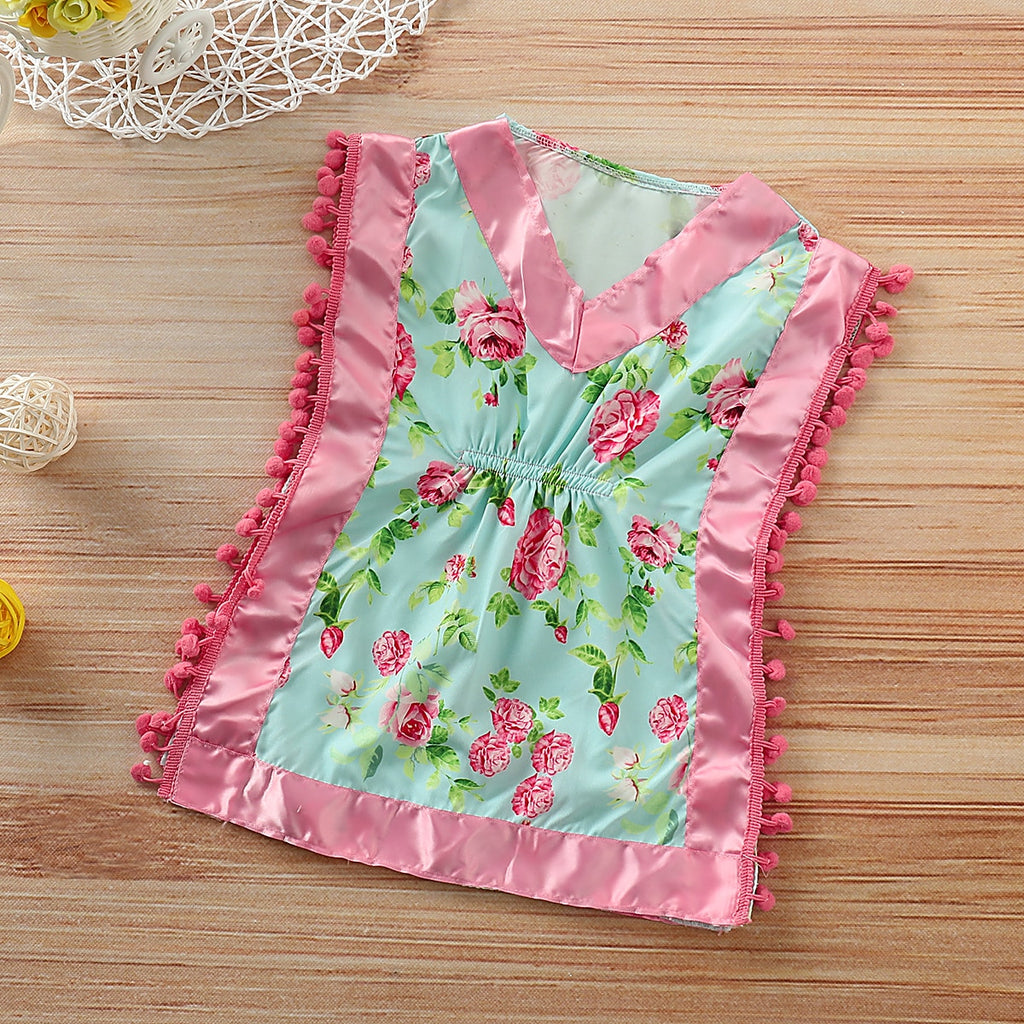 Tassel Silk Floral Dress Pajamas