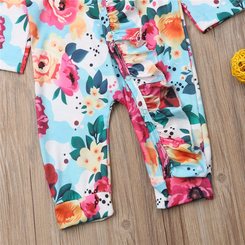 Ruffle Dainty Blue Floral Long Sleeve Pajamas