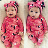 Hearty Pink Flamingo Pajamas With Matching Headband