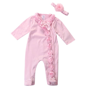 Pink Rose Ruffle Long Sleeve Pajamas With Matching Headband