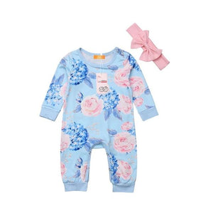 Sweet Blue And Pink Floral Pajamas With Matching Headband