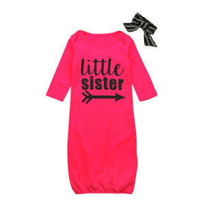 Little Sister Long Sleeve Pajamas With Matching Headband