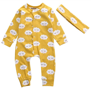 Mustard Sleepy Clouds Pajamas With Matching Headband