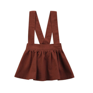 Basic Solid Brown Overall Skirt