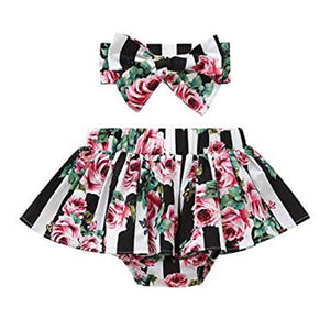 English Garden Vertical Striped Pleated Skirt With Matching Headband