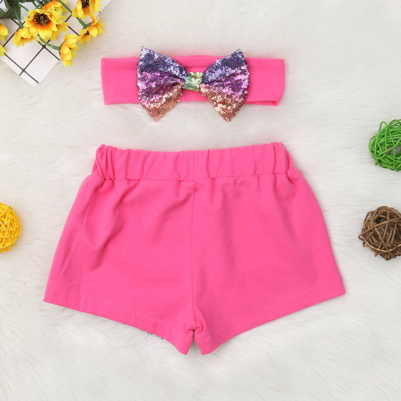 Party Sequin Summer Shorts With Matching Headband