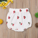 Strawberry Cherry Linen Bloomer Shorts