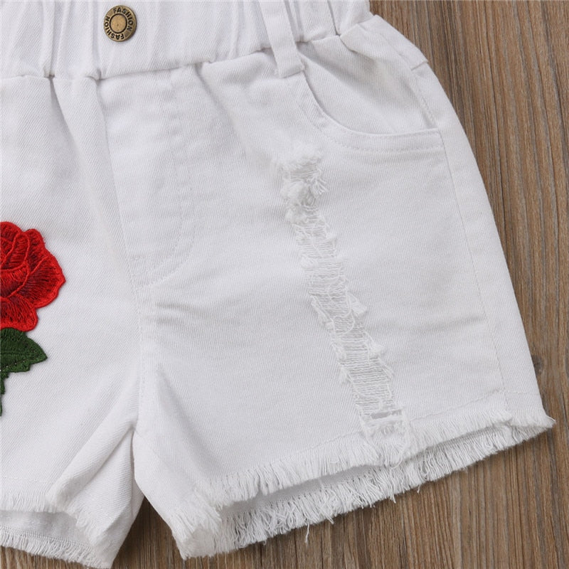 Red Rosy White Denim Summer Shorts