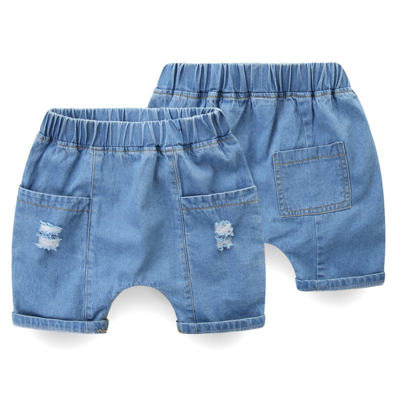 Rugged Stretchable Waist Ripped Denim Shorts
