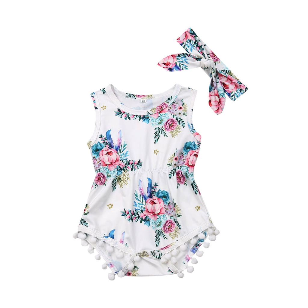 Sweet Floral Pom Pom Romper With Matching Headband